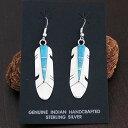 インディアン ジュエリー ピアス ネイティブアメリカン シルバー 925 NAVAJO ナバホ族 Alfred and Marilyn Yazzie ターコイズ フェザー ピアス