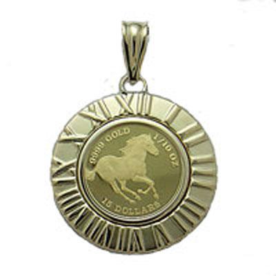 【代引き手数料、送料無料】ツバルの国の野生馬を純金でレリーフ ツバル馬1/10オンス金貨ペンダントP06Dec14