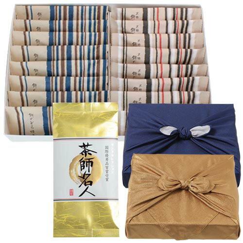 ふるや古賀音庵餅のどら焼き(プレーン・黒糖各8個入)   (風呂敷包み)+丸山製茶<茶師名人>