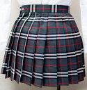 wsk-11 チェック柄 プリーツ スカート グレー×赤 40cm