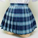wsk-15 チェック柄 プリーツ スカート 青×グレー 30cm