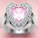可愛らしいデザイン ピンク ハート リング/指輪/Pinkキュービックジルコニア(ピンクサファイヤカラー ピンクダイヤカラーのような美しい色合い)女性 レディース リング 大きいサイズ もあります。 【 Crave-Love クレィヴ ラブ 】