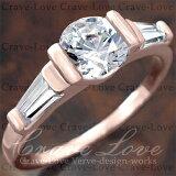 素敵な 3ストーン ピンクゴールド カラー リング/指輪【クレィヴ ラブ デザイナーズ ニューヨーク パリ ミラノ イタリア デザイン】