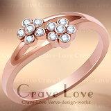 可愛らしい ピンクゴールド カラー フラワー リング/指輪/フローラル リング/Floral-Ringファランジリング(ミディリング)などにも??【 Crave-Love Costume Jewelr