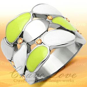ホワイト グリーン エナメル ステンレス リング | 指輪個性的で ボリューム感のある 幅広 のデザインです。女性 レディース リング 大きいサイズ もあります。 トラベルジュエリー・誕生日プレゼントにも・・ 【 Crave-Love クレィヴ ラブ 】