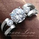 3ストーン スプリット シャンク ステンレス リング | 指輪 キュービックジルコニア(ダイヤモンド色) | プラチナ色 レディース リング 大きいサイズ もあります。トラベルジュエリー・プレゼントにも・・【 Crave-Love Jewelry bijoux Paris 】