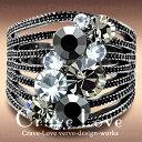 ブラックダイヤ カラー クリスタル ステンレス リング/指輪/ 個性的で ボリューム感のある 幅広のデザインです。 女性 レディース リング 大きいサイズ もあります。 スワロフスキークリスタル使用 【 Crave-Love クレィヴ ラブ 】