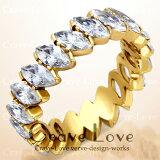 マーキス エタニティ ゴールド ステンレス リング/指輪ETERNITY RING エターナルリング【 Crave-Love Costume Jewelry Bijoux Paris France 】