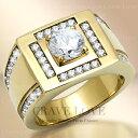 【メンズリング・男の指輪・メンズアクセサリー】 豪華デザイン メンズ ステンレス リング/指輪/RM25-G キュービックジルコニア(ダイヤモンド色)/ K18ゴールド色 幅広 / 大きいサイズもあります。【 Crave-Love メンズジュエリー 】