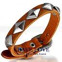 ブラウン レザー スタッズ ブレスレット | 菱形 | ダイヤ形 | 革 | 茶系 | 皮革 | リストバンド | メンズ | レディース 【 Crave-Love Jewelry bijoux Paris 】