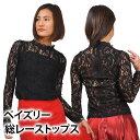 社交ダンス衣装/ペイズリー総レーストップス/シースル