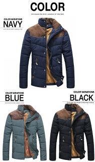 中綿入りジャケットメンズコートジャンパーブルゾン大きいサイズアウター秋冬カジュアルアウトドアナイロンバイクウエア黒青緑送料無料