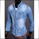 デニムシャツ メンズ ダメージ加工 シャツジャケット ウエスタンシャツ 細身 スリム カジュアルシャツ 長袖 コーデ