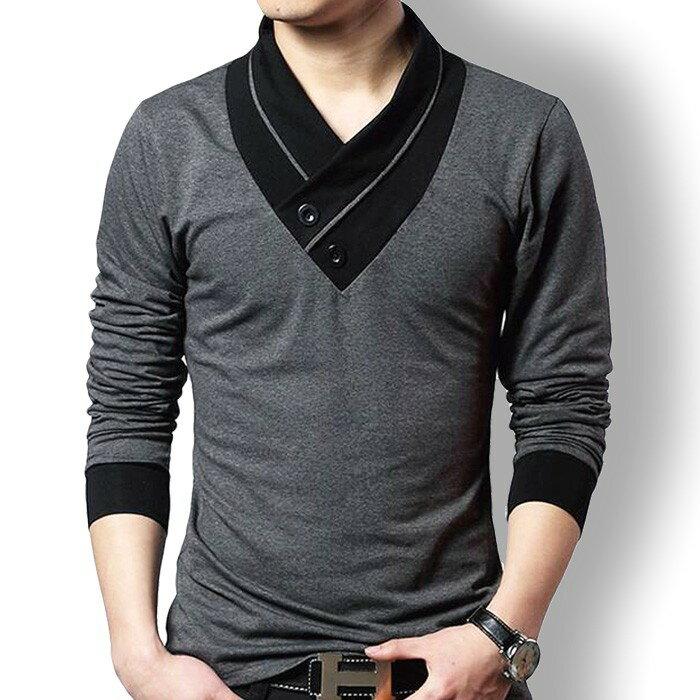 tシャツ メンズ 長袖 カジュアルシャツ スリム Vネック ポロシャツ ゴルフウェア 長袖 スカーフ風 トップス 黒 グレー M L XL