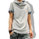 パーカー 半袖 メンズ tシャツ 無地 アフガンネック トップス コーデ カットソー カジュアルシャツ メンズファッション 夏服 おしゃれ M L XL 黒 白 グレー