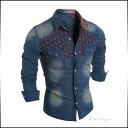 シャツジャケット メンズ アウター デニム ウォッシュ加工 ジャンパー ブルゾン コーデ 紳士服