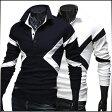 ポロシャツ メンズ トップス 長袖 無地 切替 カットソー プルオーバー モノトーン きれいめ カジュアル ゴルフウエア 大きいサイズ メンズファッション