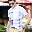 ポロシャツ メンズ トップス 半袖 Tシャツ プルオバー カットソー チェック柄 格子柄 カジュアル きれいめ ゴルフウエア 大きいサイズ メンズファッション