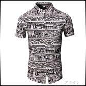 サイズ・カラー選べる 3点セット カジュアルシャツ メンズ トップス シャツ 半袖 スタンドカラー マオカラー 総柄 エスニック柄 エジプト壁画風 インナー 細身 カジュアル 大きいサイズ メンズファッション コーデ