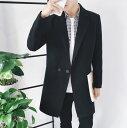 ハーフコート メンズ アウター テーラード ダブル 無地 チェスターコート風 シンプル きれい目 細身 ビジネス カジュアル メンズファッション コート
