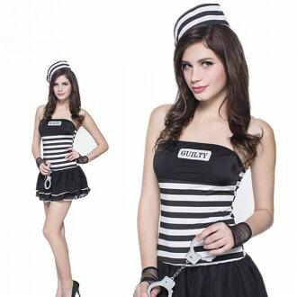 期間有限的女士締約方會議女士角色扮演萬聖節化裝服飾戴著手銬的囚犯衣服制服員警女士晚會事件服裝 * 福 02P03Dec16