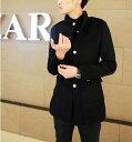 コート メンズ アウター ジャケット シングル スタンドカラー エポレット 無地 金ボタン 細身 きれいめ カジュアル メンズファッション 紳士服