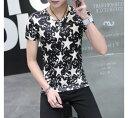Tシャツ メンズ トップス シャツ Vネック 星 ヒトデ モノクロ プリント カジュアル シンプル キレイめ メンズファッション 半袖