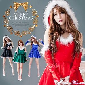 クリスマス コスチューム セクシー サンタクロース パーティー ブラック ミニスカート