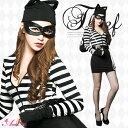 ハロウィンコスプレ囚人コスチュームコスプレ衣装セクシー黒猫仮装ネコねこ猫仮装衣装女性ハロウィンコスチューム囚人服ハロウィン衣装プリズン変装大人レディース