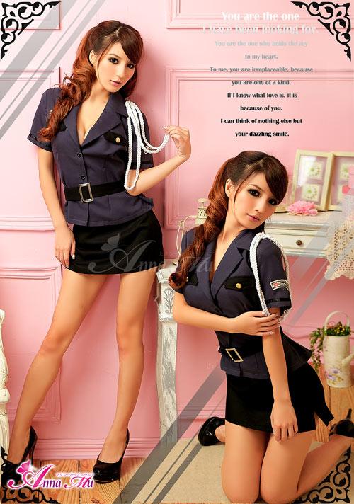 セクシーミニスカポリス 警察官 府警 コスプレ衣装 コスチューム 3点セット z676 黒