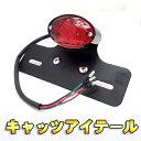 バイクパーツ ランプ キャッツアイ LEDテールランプ ナンバー ステー付き(シルバー・ブラック選択) モンキー/エイプ/マグナ/TW/エストレア/カスタム