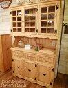 [カントリー家具] カップボード(W1200)(食器収納 キッチン収納 食器棚)【送料無料】食器ボードキャビネット 木製 パイン材 [完成品]木製 ナチュラル カントリーテイスト フレンチカントリー モダン 無垢
