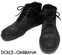 【ドルチェ&ガッバーナ】DOLCE&GABBANA ペンキウォッシュヴィンテージブーツ size8 27cm 靴 シューズ くつ ブラック【中古】