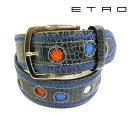 【ETORO】 エトロ 型押しレザーベルト ネイビー系 イタリア製 RM0145【中古】