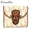 【Christian Dior】クリスチャンディオール トロッター柄 二つ折り 財布 Wホック ロゴハートカデナ PVC×レザー ベージュ×ブラウン ON0657【中古】