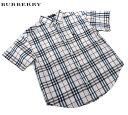 【BURBERRY】バーバリー チェック柄 半袖 ボタンダウン シャツ 100A ロゴ刺繍 【中古】FF2322