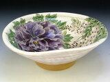 京焼・清水焼 鉢 トウア659 白掛紫草花 八.五寸鉢