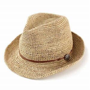 ストローハット レディース ストロー ラフィアハット コンチョ ラフィア 麦わら帽子