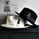 中折れハット 羽根飾り 秋冬 帽子 メンズ 大きいつば ワイドブリム フェルトハット STACY ADAMS ステイシーアダムス ブラック つば広 ファッション つば広 ハット 30代 40代 中折れ帽