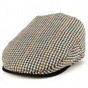 クリスティーズロンドン ハンチング メンズ 帽子 CHRISTYS' LONDON 英国 ブランド ハンチング クラシック ツイード ウール Brighton Driver ハンチング帽 紳士 千鳥格子 ハウンドトゥース ベージュ系 [ivy cap]