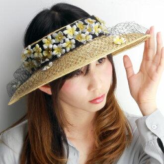玫瑰色的帽子遮陽花女士遮陽篷領寬遮陽板 UV 措施與玫瑰遮陽的帽子邊緣寬太陽遮陽大小可調 UV 保護 Barairo 帽子花沒有 boushi 日本黑 (白花)