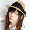 バラ色の帽子 ストローハット レディース 日よけ 春夏 巻バ...