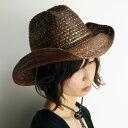 ウエスタンハット レディース scala ストローハット レディース UVカット帽子 日よけ 春夏 カウボーイハット メンズ テンガロン 柄 ミックスブレード ハット 幾何学模様 scala 帽子 ひも付き スカラ ハット 大きいサイズ 茶 チョコレートブラウン cowboy hat