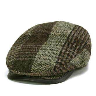 KASZKIET 狩獵哈裡斯粗花呢羊毛狩獵複選模式男式帽子帽帽子棕色棕色波蘭皮革常春藤帽 (50 年代提出了男式帽子男士帽子爺爺生日時尚)