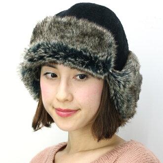 玫瑰帽子飛行的帽冬天冬天帽子婦女帽子皮毛帽子秋季/冬季-日本 Barairo 沒有 boushi 手工製作毛皮配套帽子玫瑰耳朵跟我時尚帽女式黑色耳機毛皮帽飛行帽