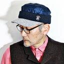 ショッピングキルト 3トーンのおしゃれな異素材ミックスのキャップ SINACOVA キルト x ニット 切り替え イヤーカバー 付き キャップ イヤーフラップ 耳当て シナコバ 秋冬 帽子 キルティング 暖かい 帽子 耳付き 中綿 SINA COVA メンズ ワークキャップ 日本製 紺 ネイビー [ cap ]