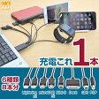 【多種類 機器 充電】なんでも充電ケーブル「帰ってきた ヤマタノオロチ」【ALGDPC05】 安心 iPhone iPad Lightning スマートフォン microUSB Dock 3DS PSP Mini-B サンコー