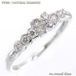 pt900 フラワーモチーフ ダイヤモンドリング 0.30ct プラチナ900 リング 指輪 レディース【送料無料】【コンビニ受取対応商品】  【SSS】【10%off】 指先にダイヤの花が咲きました♪