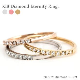 小指戒指 0.10 ct K18 黃金鑽石戒指永恆帶半永恆 18k 金戒指 10 石半永恆十鑽石店受歡迎的產品的結婚戒指訂婚戒指新娘禮物 824 樂天卡司