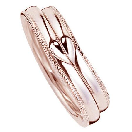 ペアリング(2本セット) 結婚指輪 マリッジリング 結婚記念 K18ピンクゴールド ミル打ち加工 ふたつを合せるとハート模様 《M2227》 【刻印無料 ケース付き 送料無料】 【RCP】 【532P17Sep16】 高品質・ハイクォリティー